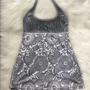 Lululemon Women's Halter Top Gray Floral Ruched 4